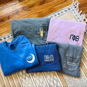 BUNDLE of 5 gamma phi beta SHORT sleeve t-shirt's